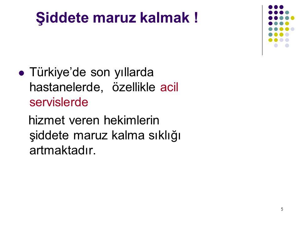 Şiddete maruz kalmak ! Türkiye'de son yıllarda hastanelerde, özellikle acil servislerde.