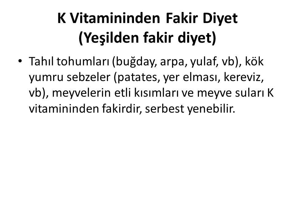 K Vitamininden Fakir Diyet (Yeşilden fakir diyet)