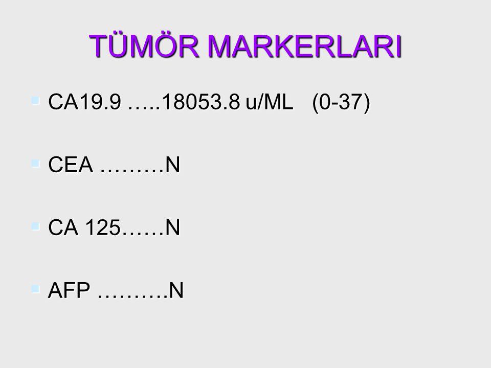 TÜMÖR MARKERLARI CA19.9 …..18053.8 u/ML (0-37) CEA ………N CA 125……N