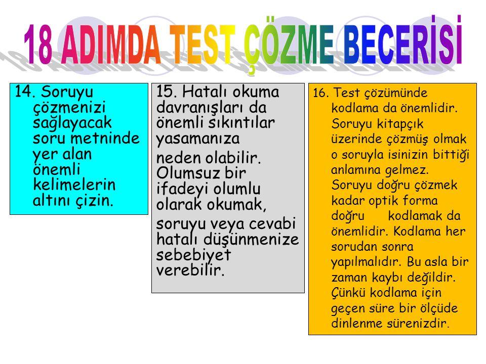 18 ADIMDA TEST ÇÖZME BECERİSİ