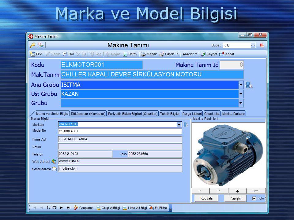 Marka ve Model Bilgisi