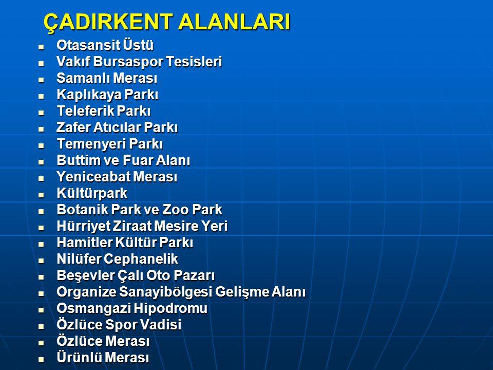 ÇADIRKENT ALANLARI Otasansit Üstü Vakıf Bursaspor Tesisleri