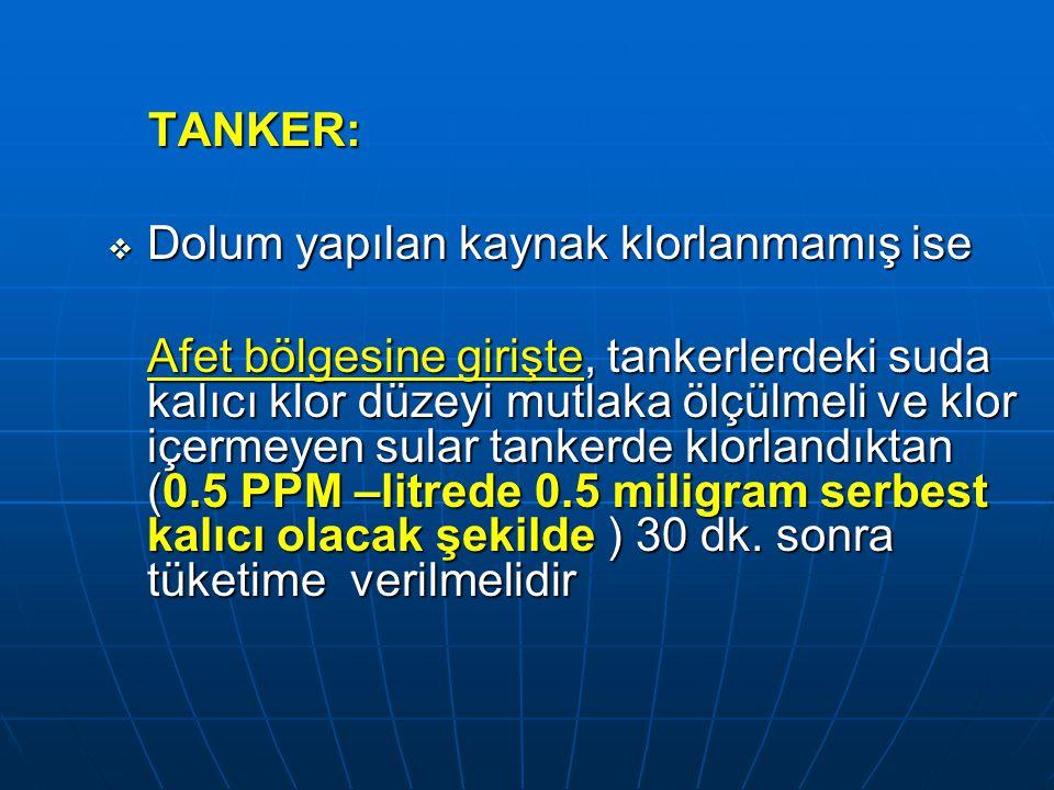 TANKER: Dolum yapılan kaynak klorlanmamış ise.