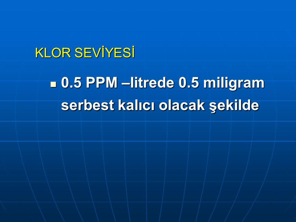 0.5 PPM –litrede 0.5 miligram serbest kalıcı olacak şekilde