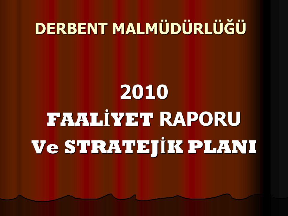 DERBENT MALMÜDÜRLÜĞÜ 2010 FAALİYET RAPORU Ve STRATEJİK PLANI