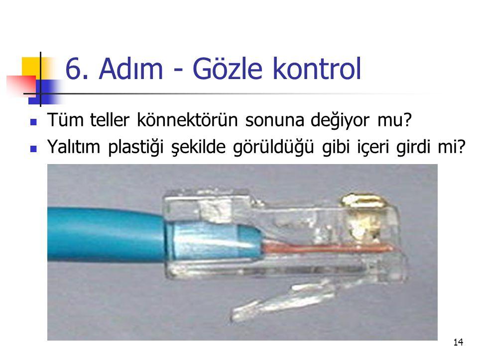 6. Adım - Gözle kontrol Tüm teller könnektörün sonuna değiyor mu