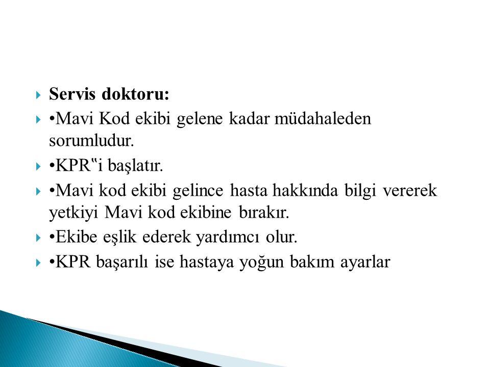 """Servis doktoru: •Mavi Kod ekibi gelene kadar müdahaleden sorumludur. •KPR""""i başlatır."""