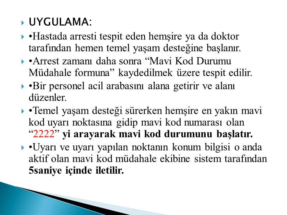 UYGULAMA: •Hastada arresti tespit eden hemşire ya da doktor tarafından hemen temel yaşam desteğine başlanır.