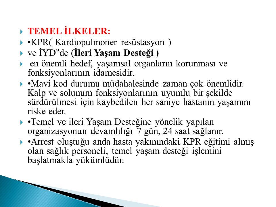 """TEMEL İLKELER: •KPR( Kardiopulmoner resüstasyon ) ve İYD""""de (İleri Yaşam Desteği )"""