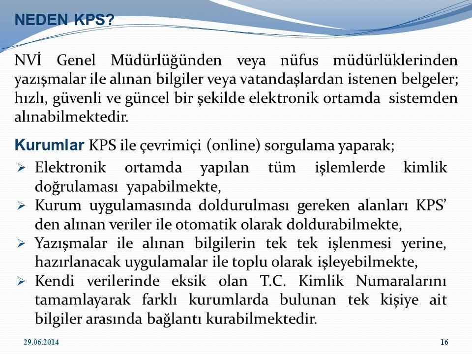 Kurumlar KPS ile çevrimiçi (online) sorgulama yaparak;