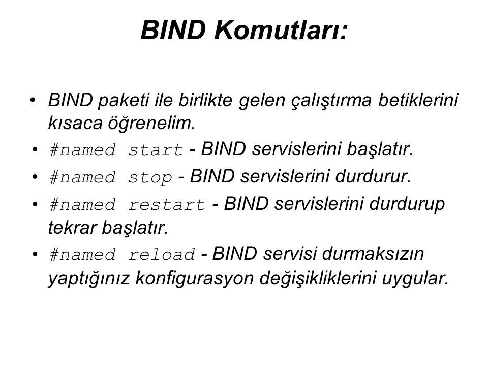 BIND Komutları: BIND paketi ile birlikte gelen çalıştırma betiklerini kısaca öğrenelim. #named start - BIND servislerini başlatır.