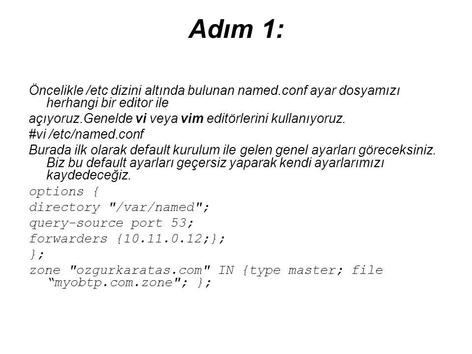 Adım 1: Öncelikle /etc dizini altında bulunan named.conf ayar dosyamızı herhangi bir editor ile.