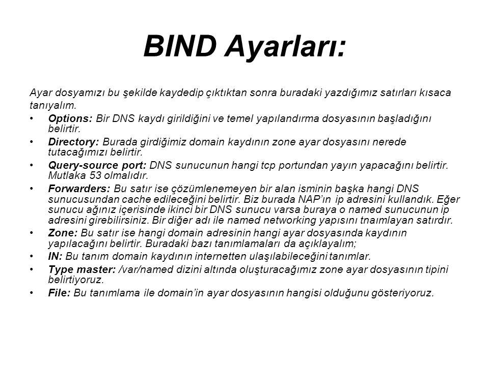 BIND Ayarları: Ayar dosyamızı bu şekilde kaydedip çıktıktan sonra buradaki yazdığımız satırları kısaca.