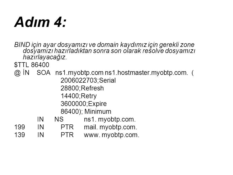 Adım 4: BIND için ayar dosyamızı ve domain kaydımız için gerekli zone dosyamızı hazırladıktan sonra son olarak resolve dosyamızı hazırlayacağız.