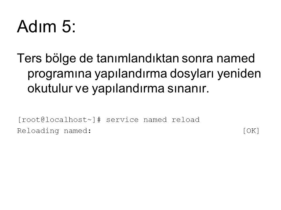 Adım 5: Ters bölge de tanımlandıktan sonra named programına yapılandırma dosyları yeniden okutulur ve yapılandırma sınanır.