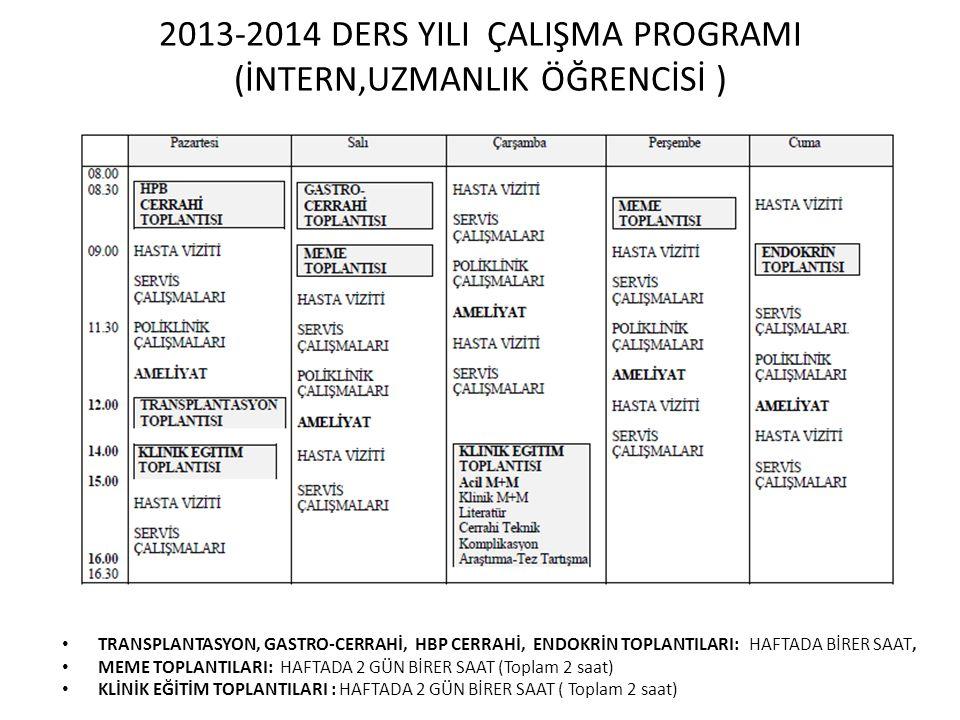 2013-2014 DERS YILI ÇALIŞMA PROGRAMI (İNTERN,UZMANLIK ÖĞRENCİSİ )