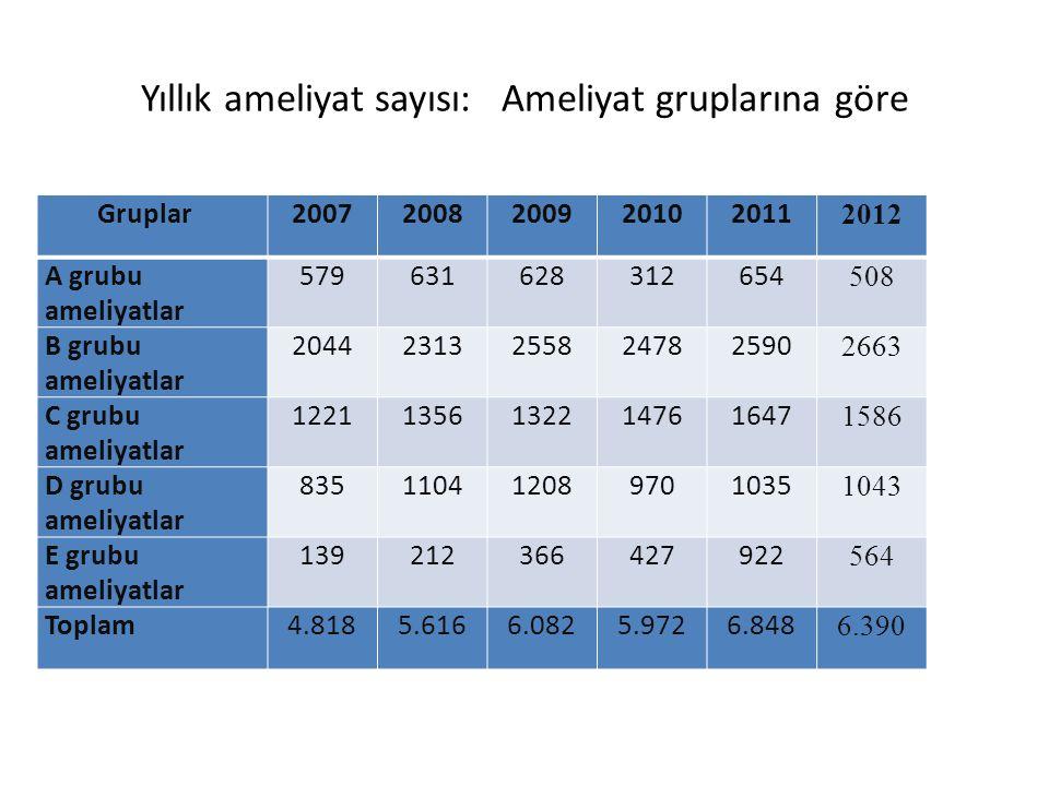 Yıllık ameliyat sayısı: Ameliyat gruplarına göre