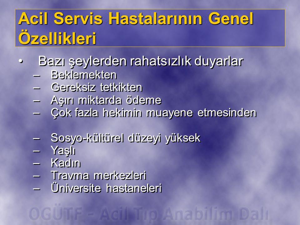 Acil Servis Hastalarının Genel Özellikleri