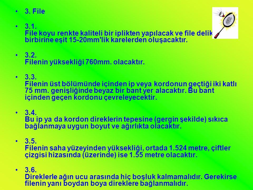 3. File 3.1. File koyu renkte kaliteli bir iplikten yapılacak ve file delikleri birbirine eşit 15-20mm lik karelerden oluşacaktır.