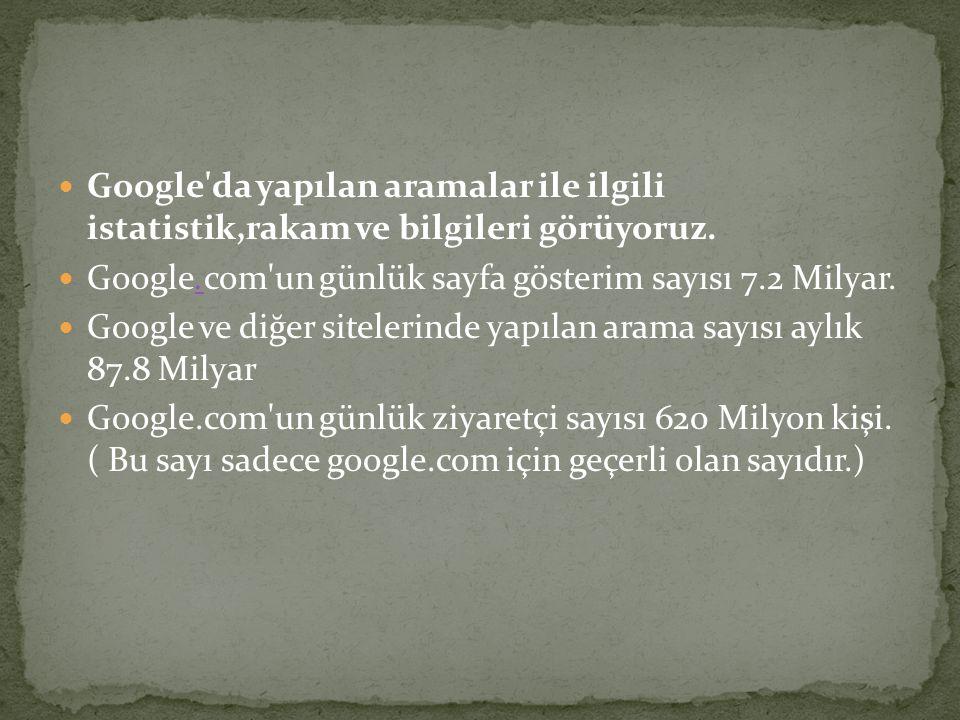 Google da yapılan aramalar ile ilgili istatistik,rakam ve bilgileri görüyoruz.