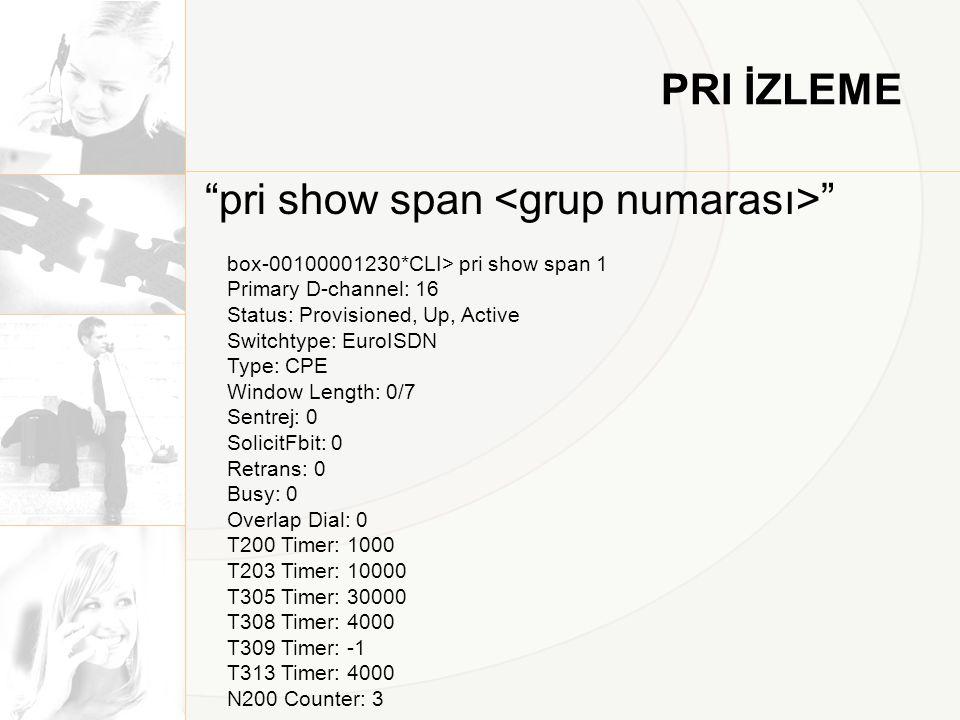 pri show span <grup numarası>