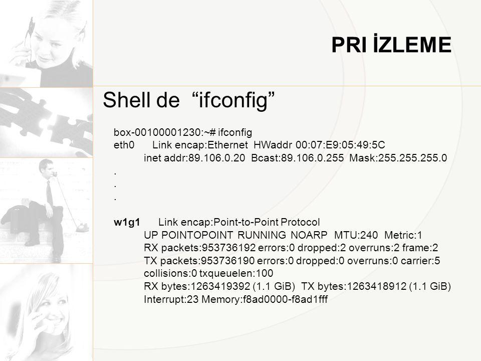 PRI İZLEME Shell de ifconfig box-00100001230:~# ifconfig