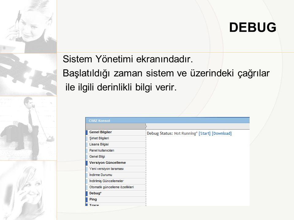 DEBUG Sistem Yönetimi ekranındadır.