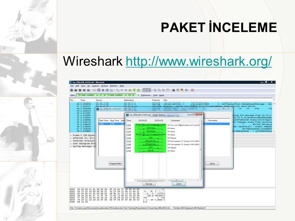 PAKET İNCELEME Wireshark http://www.wireshark.org/