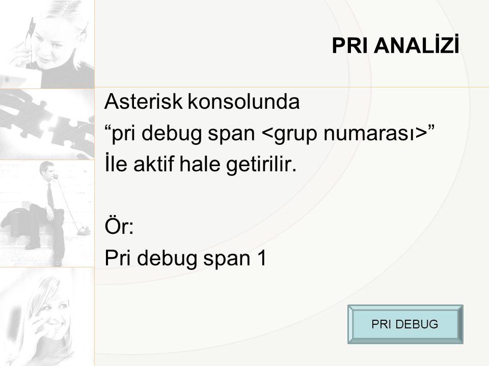 PRI ANALİZİ Asterisk konsolunda pri debug span <grup numarası> İle aktif hale getirilir. Ör: Pri debug span 1