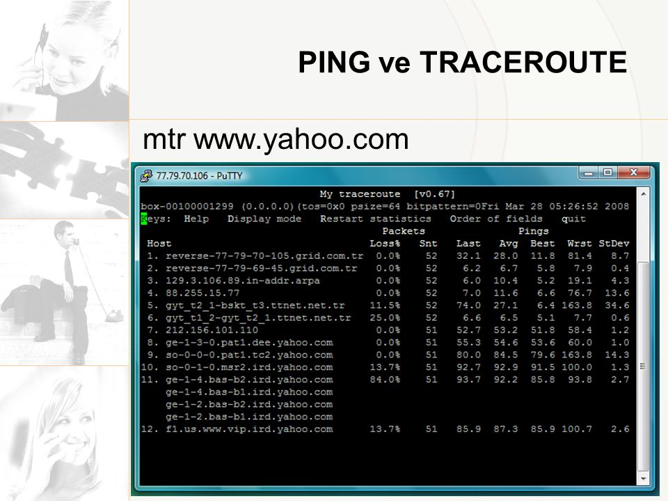 PING ve TRACEROUTE mtr