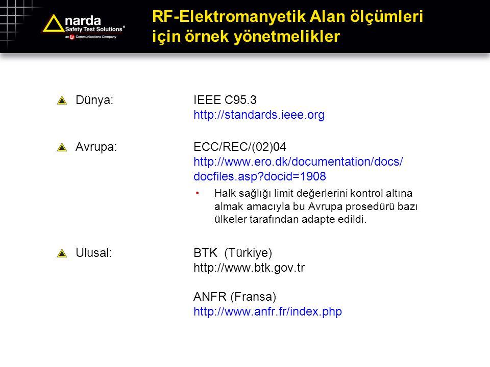 RF-Elektromanyetik Alan ölçümleri için örnek yönetmelikler