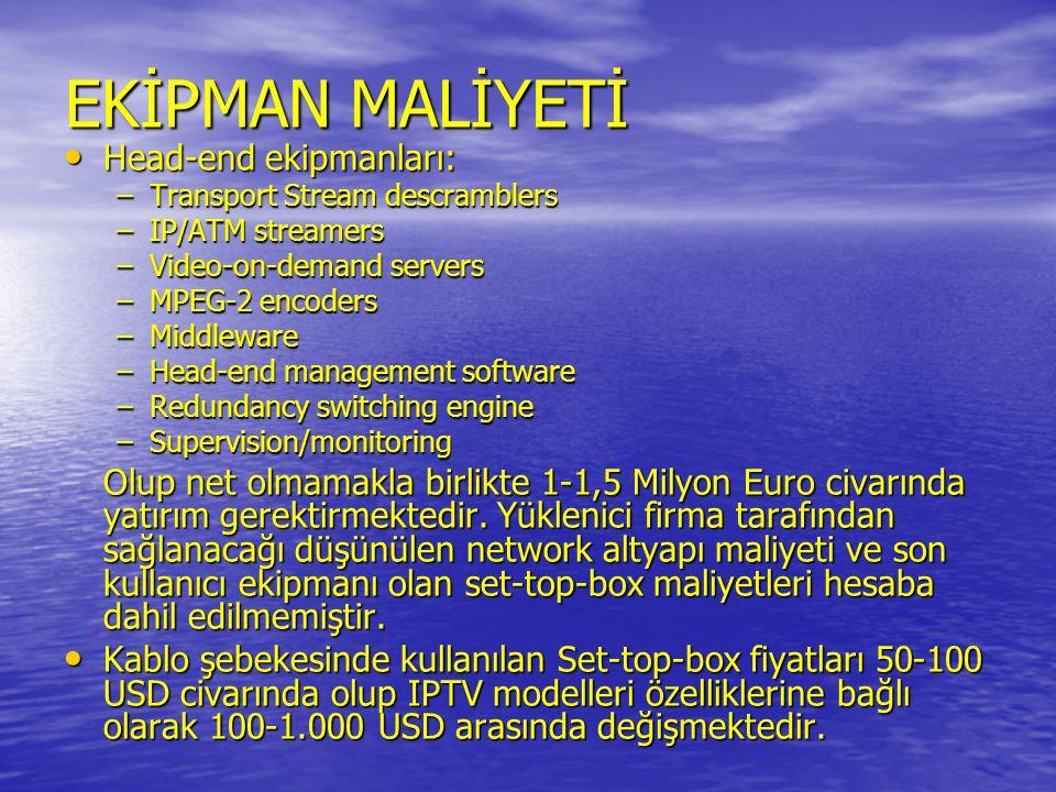EKİPMAN MALİYETİ Head-end ekipmanları: