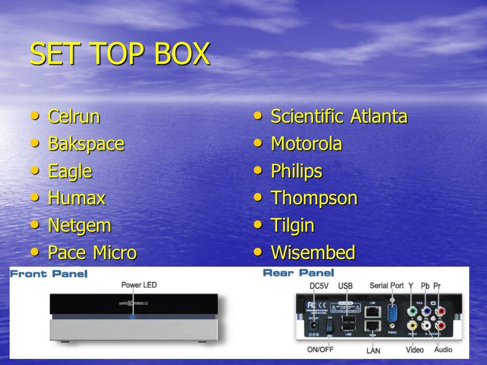 SET TOP BOX Celrun Bakspace Eagle Humax Netgem Pace Micro