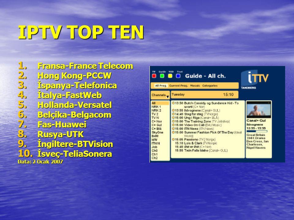 IPTV TOP TEN Fransa-France Telecom Hong Kong-PCCW İspanya-Telefonica