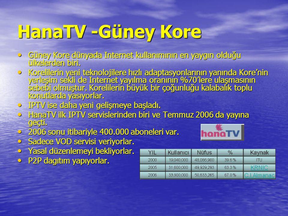 HanaTV -Güney Kore Güney Kore dünyada Internet kullanımının en yaygın olduğu ülkelerden biri.
