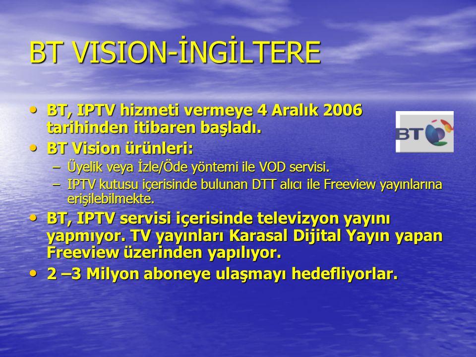 BT VISION-İNGİLTERE BT, IPTV hizmeti vermeye 4 Aralık 2006 tarihinden itibaren başladı. BT Vision ürünleri: