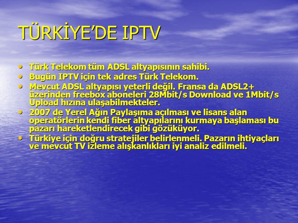 TÜRKİYE'DE IPTV Türk Telekom tüm ADSL altyapısının sahibi.