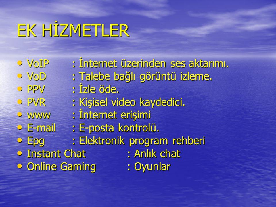 EK HİZMETLER VoIP : İnternet üzerinden ses aktarımı.