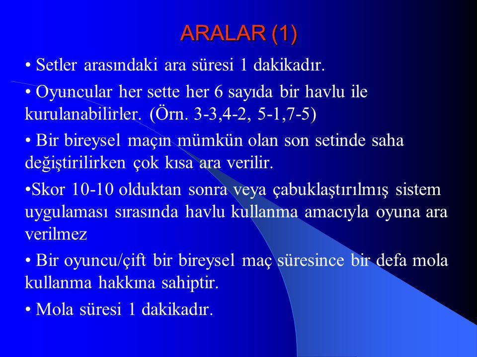 ARALAR (1) • Setler arasındaki ara süresi 1 dakikadır.