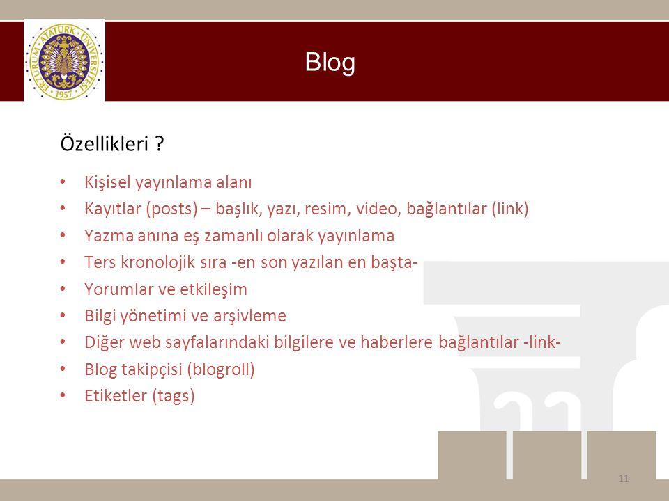 Blog Özellikleri Kişisel yayınlama alanı