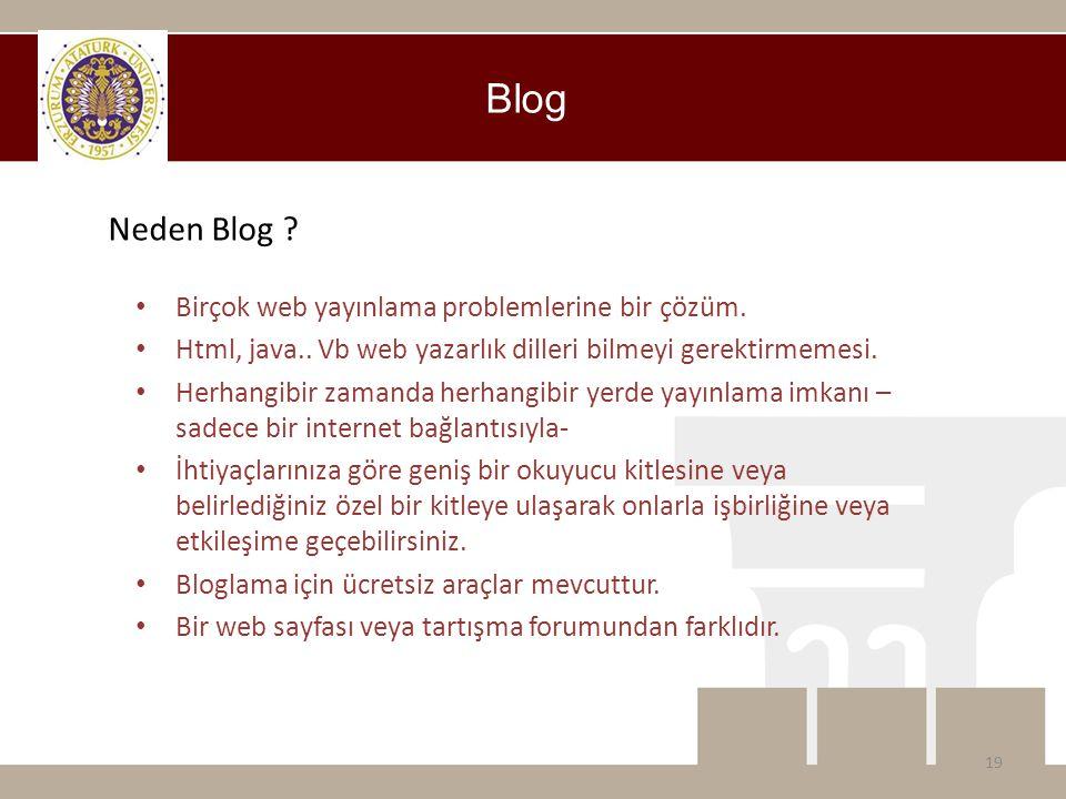 Blog Neden Blog Birçok web yayınlama problemlerine bir çözüm.