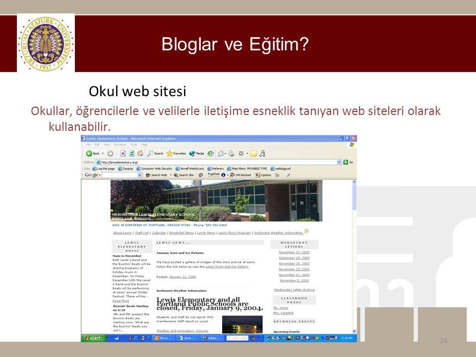 Bloglar ve Eğitim Okul web sitesi