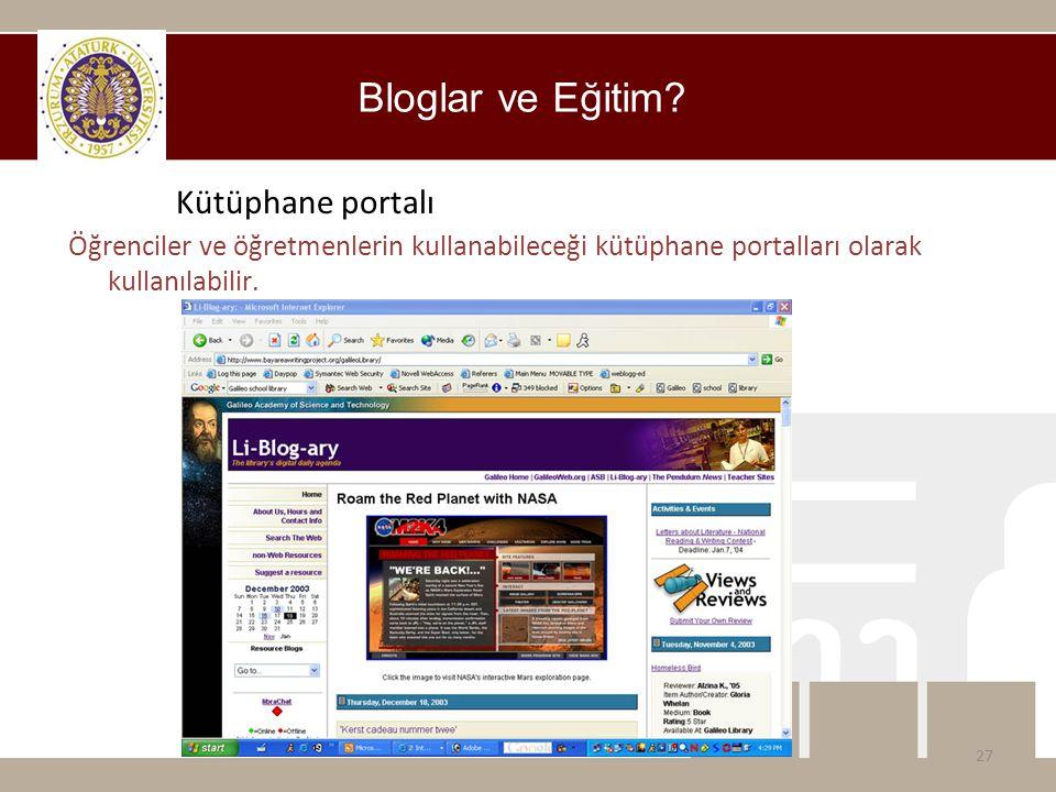 Bloglar ve Eğitim Kütüphane portalı