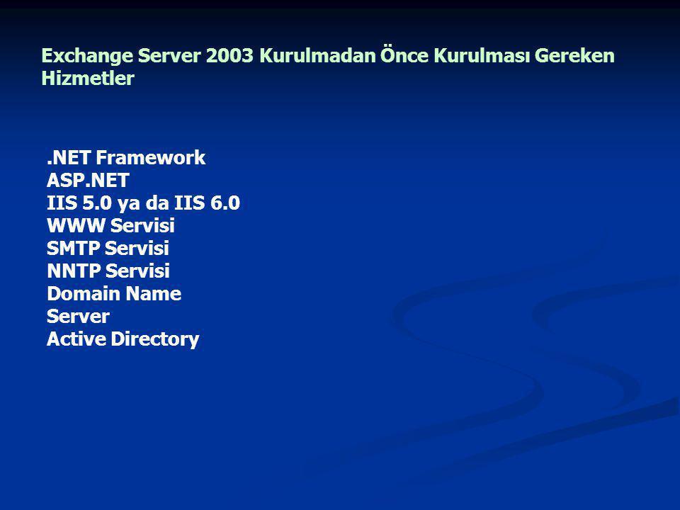 Exchange Server 2003 Kurulmadan Önce Kurulması Gereken Hizmetler