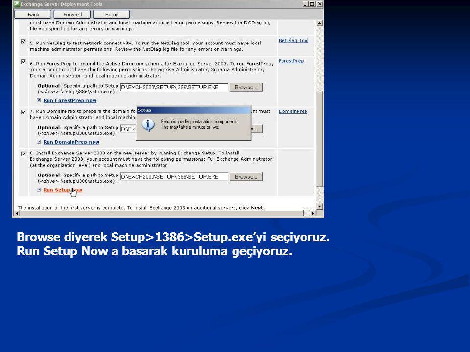 Browse diyerek Setup>1386>Setup.exe'yi seçiyoruz.