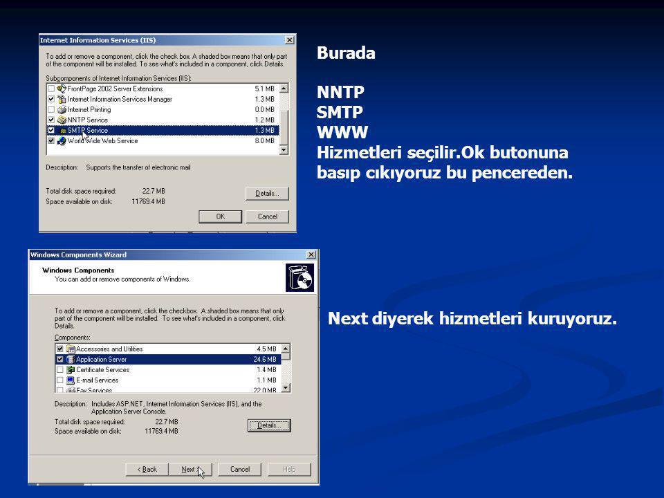 Burada NNTP SMTP WWW. Hizmetleri seçilir.Ok butonuna basıp cıkıyoruz bu pencereden.