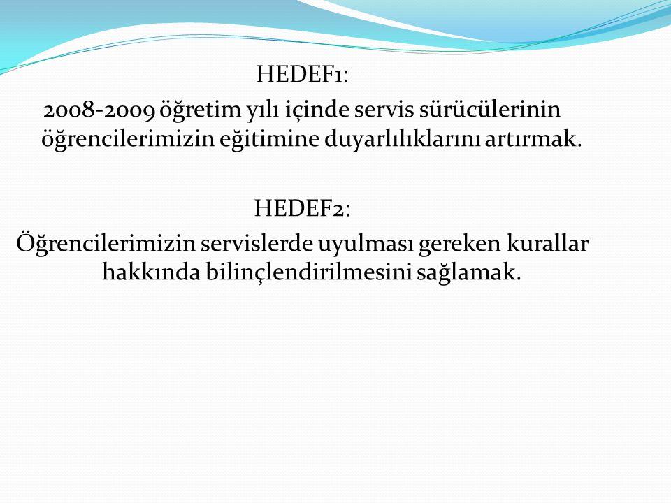 HEDEF1: 2008-2009 öğretim yılı içinde servis sürücülerinin öğrencilerimizin eğitimine duyarlılıklarını artırmak.