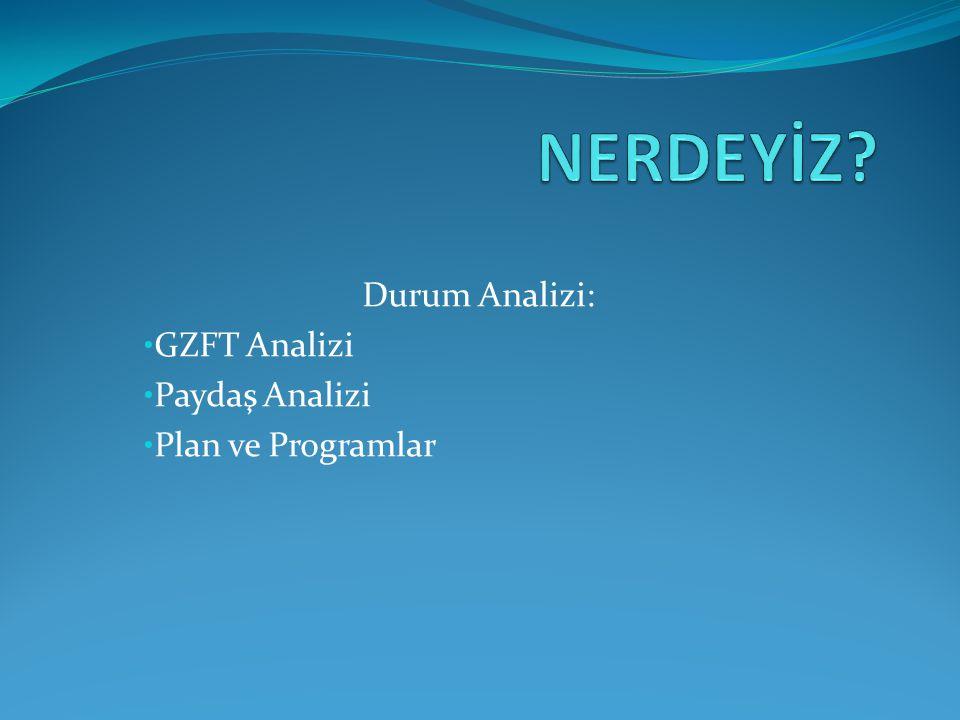 Durum Analizi: GZFT Analizi Paydaş Analizi Plan ve Programlar