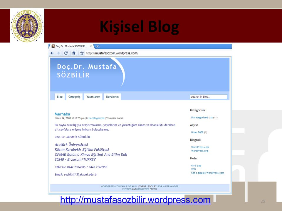 Kişisel Blog http://mustafasozbilir.wordpress.com