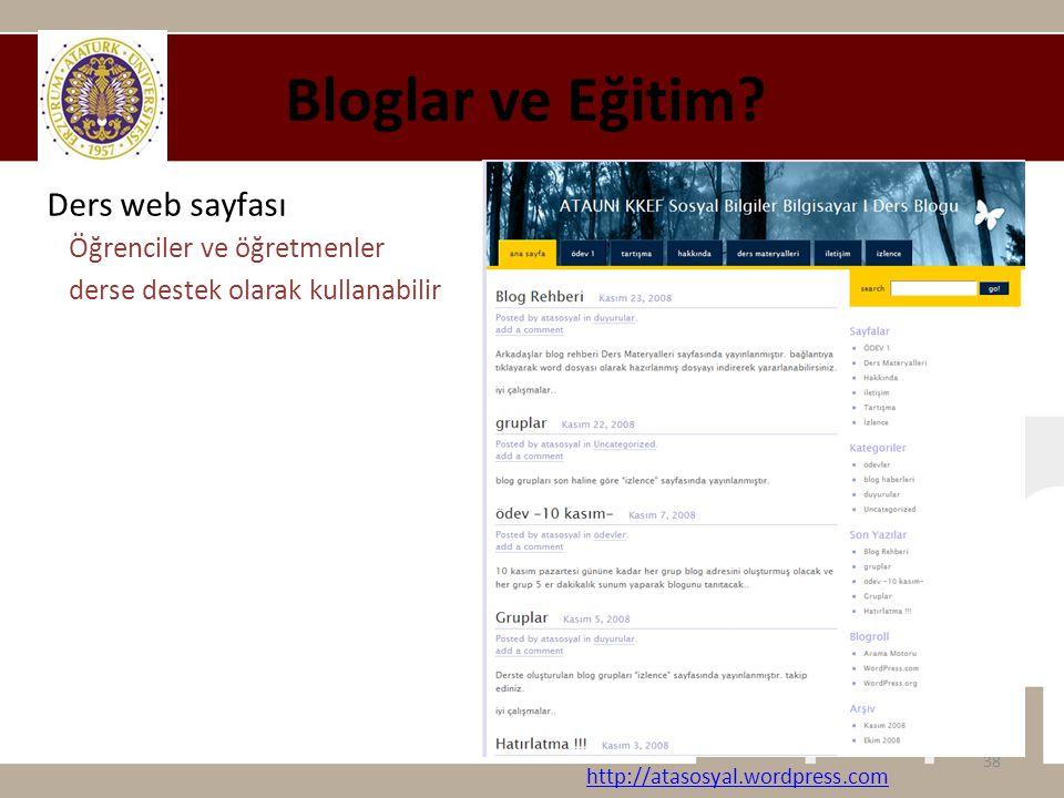 Bloglar ve Eğitim Ders web sayfası Öğrenciler ve öğretmenler